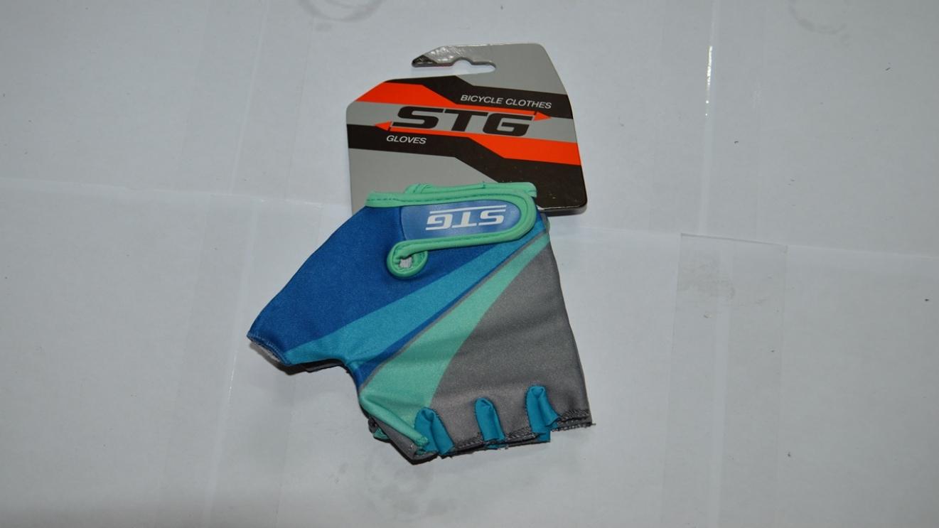 Перчатки велосипедные STG 87908 серо-салат